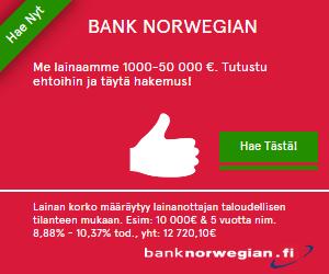 Bank Norwegian Suomi edullista pankkilainaa netistä 100-50 000€. Tutustu palveluun ja täytä maksuton nettihakemus alle viidessä minuutissa.