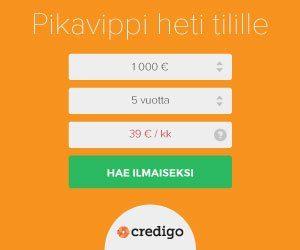 Credigo lainaa heti tilille hintatakuulla netin edullisimpaan hintaan alkaen 3,25% kk-korolla!