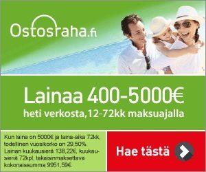 ostosraha.fi laadukasta lainaa heti verkosta 12-72 kk maksuajalla jopa 5000€