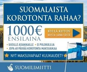 Suomalaista korotonta rahaa ilman vakuuksia ja takaajia.