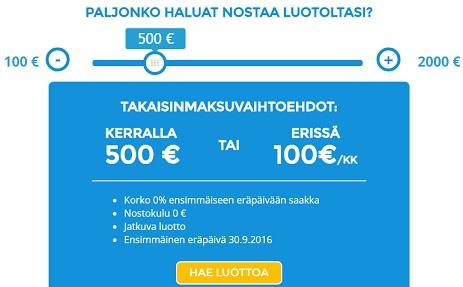 Limiitin nostaminen on helppoa ja ensinosto 100 - 500 euron väliltä on ilmainen!