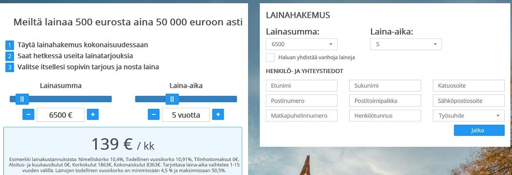 Tältä näyttää Lainaa24.fi palvelun kotisivu ja lainalaskuri